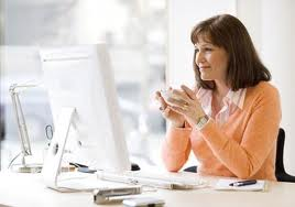 Woman sitting at computer